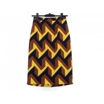 【中古】 ダイアグラム スカート サイズ36 S レディース 美品 ブラウン ネイビー イエロー