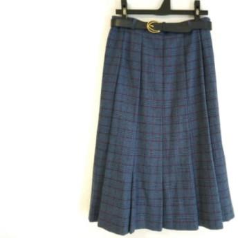 【中古】 レリアン Leilian ロングスカート サイズ11 M レディース ブルー レッド 黒 チェック柄