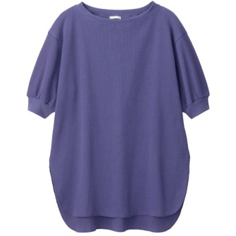 (GU)ワッフルオーバーサイズT(5分袖) BLUE XL