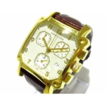 【中古】 ハミルトン HAMILTON 腕時計 ロイド 6318 メンズ クロノグラフ/革ベルト 白