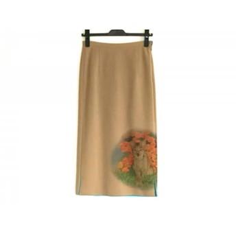 【中古】 イタリヤ ロングスカート サイズ7 S レディース 美品 ベージュ オレンジ マルチ 花柄