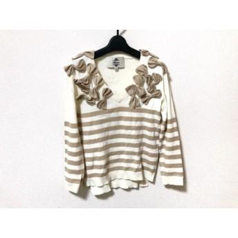 【中古】 カオン kaon 長袖セーター サイズ36 S レディース アイボリー ベージュ リボン