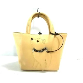 【中古】 キタムラ KITAMURA トートバッグ 美品 ベージュ ダークブラウン 犬 レザー