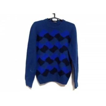 【中古】 ドルモア Drumohr 長袖セーター サイズ46 XL メンズ ネイビー ブルー 黒