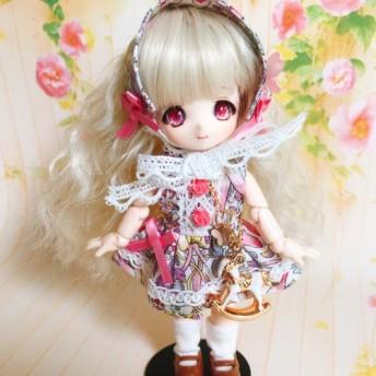 ドール服 オビツ11サイズリバティ生地使用ピンクの花柄ドレス3点セット