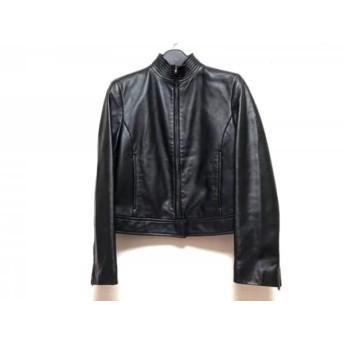 【中古】 ダナキャラン DKNY ブルゾン サイズ2 M レディース 黒 春・秋物/レザー