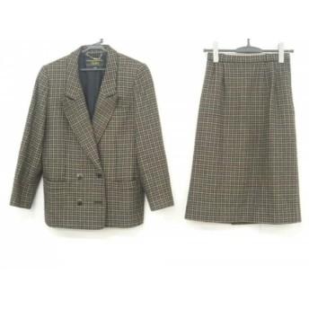 【中古】 レリアン Leilian スカートスーツ サイズ9 M レディース 黒 ベージュ ブルー