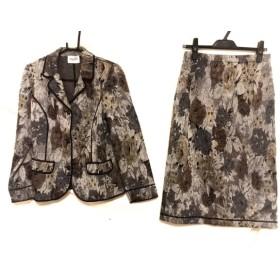 【中古】 スティゾーリ スカートスーツ サイズ46 XL レディース 美品 ダークグレー シルバー マルチ