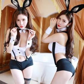 バニーガール セクシー コスチューム コスプレセット 6点セット コスプレ衣装 うさ耳 バニー レディース 可愛い 仮装 パーティー 下着 黒 白