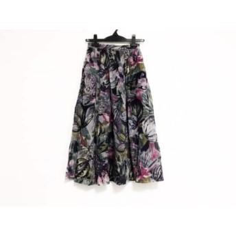 【中古】 レリアン Leilian スカート サイズ9 M レディース パープル ダークネイビー マルチ