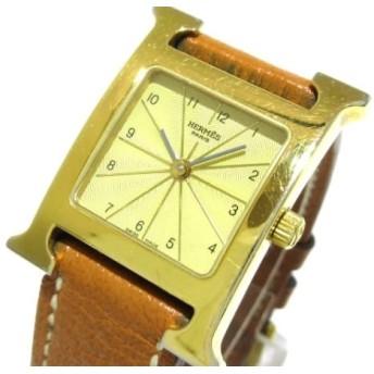 【中古】 エルメス HERMES 腕時計 Hウォッチ HH1.201 レディース 革ベルト/□E ゴールド