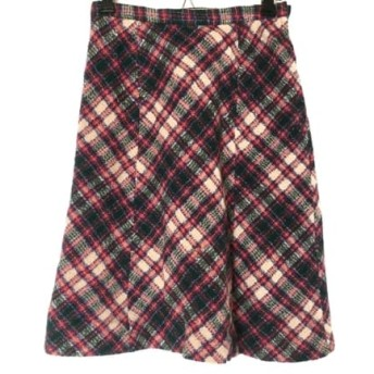 【中古】 ツモリチサト スカート サイズM レディース レッド ダークグリーン ベージュ チェック柄