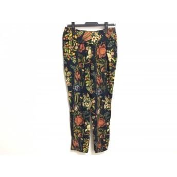 【中古】 デシグアル Desigual パンツ サイズ24 レディース 美品 黒 ブラウン マルチ 花柄