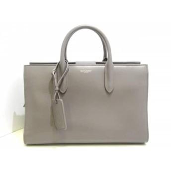 【中古】 サンローランパリ SAINT LAURENT PARIS ハンドバッグ 美品 ジェーン 504924 グレー レザー