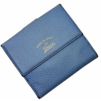 【定番人気】【中古】グッチ Wホック二つ折り財布 レディース メンズ ブルー g0730