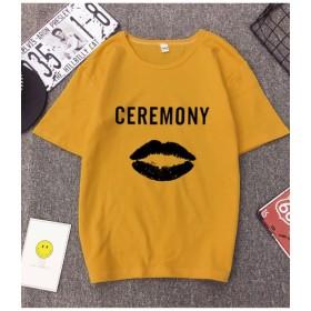 メゾンドラティール カジュアル感あふれるラウンドネックの半袖Tシャツ。 レディース イエロー XL 【maison de LATIR】