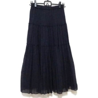 【中古】 ドレステリア DRESSTERIOR ロングスカート サイズ3 L レディース 美品 ダークネイビー プリーツ