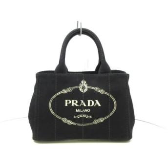 【中古】 プラダ PRADA トートバッグ 美品 CANAPA 1BG439 黒 キャンバス