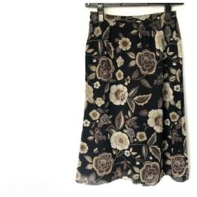 【中古】 レリアン Leilian スカート サイズ9 M レディース ダークネイビー アイボリー マルチ 花柄