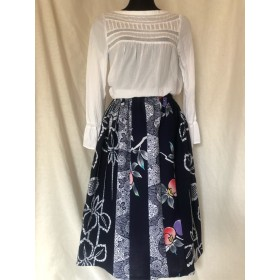 浴衣 リメイク ギャザースカート 花柄 ざくろ 和柄 本染め 綿 和風 着物