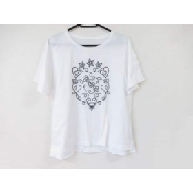 【中古】 レリアン Leilian 半袖Tシャツ サイズ13+ S レディース 美品 白 黒 スター/ハート/刺繍
