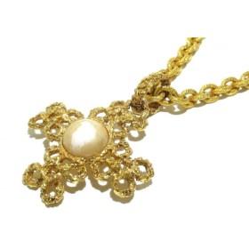【中古】 シャネル CHANEL ネックレス 美品 金属素材 ゴールド クロス