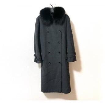 【中古】 ニューヨーカー コート サイズ15(76) レディース ダークグレー 黒 冬物/フォックスファー