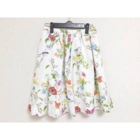 【中古】 チェスティ Chesty スカート サイズ0 XS レディース 美品 白 オレンジ マルチ 花柄