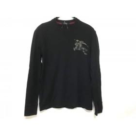 【中古】 バーバリーブラックレーベル Burberry Black Label 長袖Tシャツ サイズ2 M メンズ 黒 ベージュ