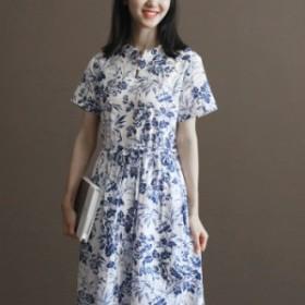 2019年春夏 新作  レトロ 花柄 ウエスト絞り 半袖 ワンピース ブルー デート 旅行