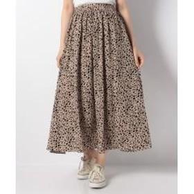単色レオパード柄ギャザーロングスカート