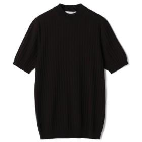ESTNATION / ウォッシャブル半袖リブニット ブラック/SMALL(エストネーション)◆メンズ ニット/セーター