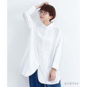 (merlot/メルロー)スタンドカラーラウンドヘムコットンシャツ/レディース オフホワイト