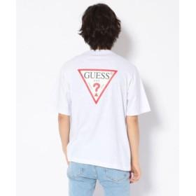 (LHP/エルエイチピー)GUESS/ゲス/バックトライアングルロゴプリントルーズTシャツ/メンズ WHITE