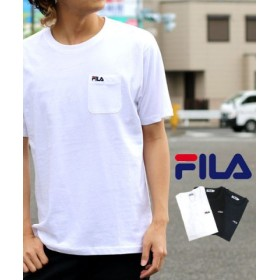 (MARUKAWA/マルカワ)【FILA】フィラ ポケット ワンポイント刺繍 半袖Tシャツ/メンズ ホワイト
