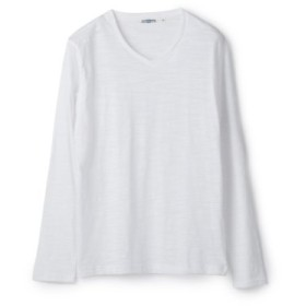 (Men's Bigi/メンズビギ)スラブミジンボーダーVネックTシャツ/メンズ ホワイト