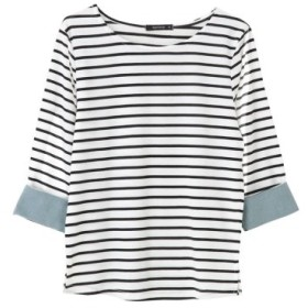 (aquagarage/アクアガレージ)袖折り返しデザイントップス/レディース WHITE