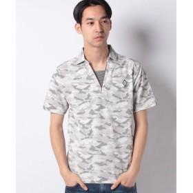 (STYLEBLOCK/スタイルブロック)カノコ迷彩カモフラプリントスキッパー半袖ポロシャツ/メンズ オフホワイト