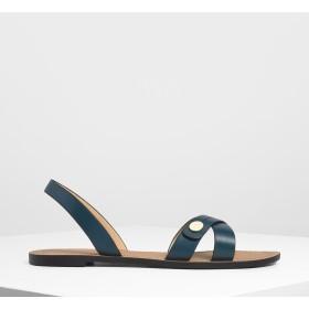 ボタンディテール クリスクロスサンダル / Button Detail Criss Cross Sandals (Teal)