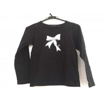 【中古】 アニエスベー agnes b 半袖カットソー サイズ10 L レディース 黒 シルバー ENFANT/子供服