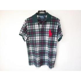 【中古】 ポロラルフローレン 半袖ポロシャツ サイズM メンズ ビッグポニー グリーン 白 ダークネイビー