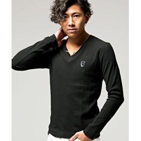 (SILVER BULLET/シルバーバレット)VIOLA【ヴィオラ】プリント入りVネック長袖Tシャツ/メンズ ブラック