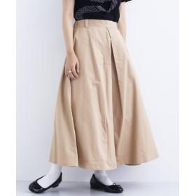 (merlot/メルロー)コットンタックデザインロングスカート1603-0628/レディース ベージュ