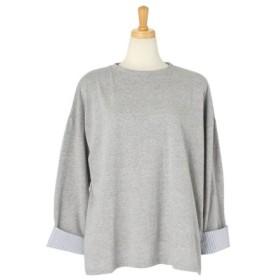 (REAL STYLE/リアルスタイル)袖折り返しストライプビッグカットソー レディース トップス ロンT Tシャツ ティーシャツ クルーネック 長袖 シンプル 無地レイヤード風 重ね着風 ドロップシ/レディース グレー