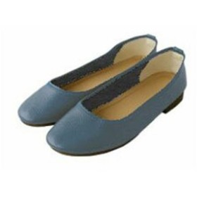 (la-gemme/ラジェム)パンプス 本革 ラウンドトゥ ぺたんこ レディース フラット 走れる 歩きやすい 楽ちん 美脚 ローヒール 可愛い キレイ 大人 疲れない オフィス 通勤 ブ/レディース ブルー(BLU)