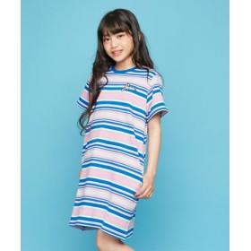 (JENNI/ジェニィ)ミニ裏毛マルチボーダーワンピ/レディース ピンク