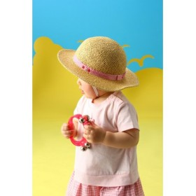 (MIKI HOUSE HOT BISCUITS/ミキハウスホットビスケッツ)麦わら風☆さわやかハット (48-54cm)/レディース ピンク