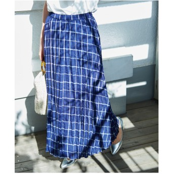 ROPE' PICNIC フレンチリネン混プリーツスカート(ブルー系(45))【返品不可商品】