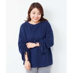 (eur3/エウルキューブ)【大きいサイズ】プチプラ!軽くて暖かい!袖リボントップス/レディース ブルー