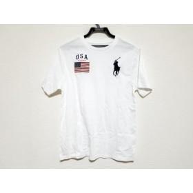 【中古】 ポロラルフローレン 半袖Tシャツ サイズL レディース ビッグポニー 白 ダークネイビー レッド